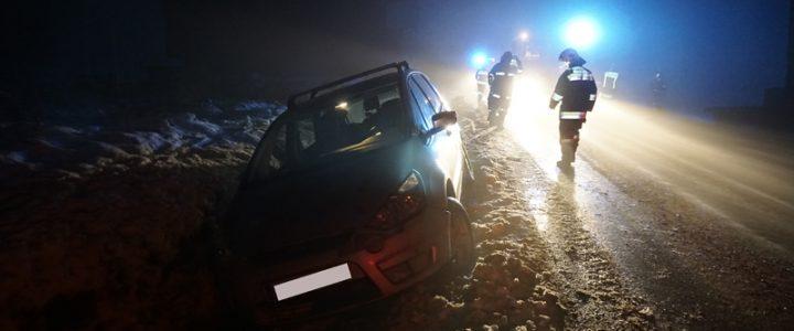 Fahrzeugbergung auf der L56 Nähe Lager Kaufholz am 24.01.2018